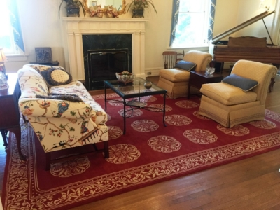 Living Room Design, Upholstered sofa, chairs, and carpet